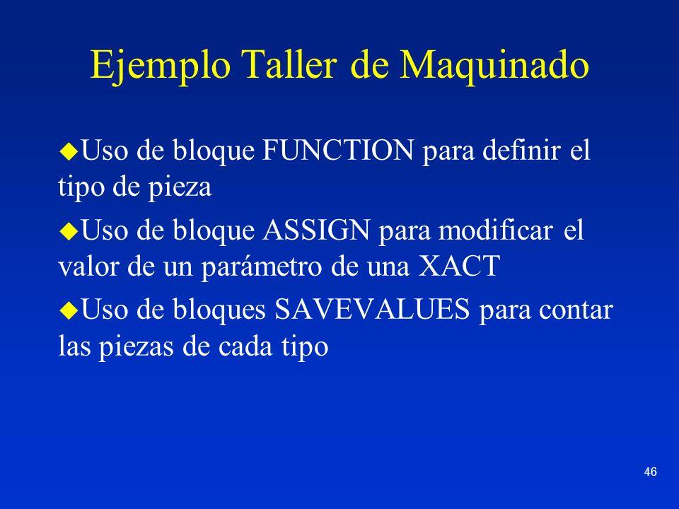 46 Ejemplo Taller de Maquinado u Uso de bloque FUNCTION para definir el tipo de pieza u Uso de bloque ASSIGN para modificar el valor de un parámetro d