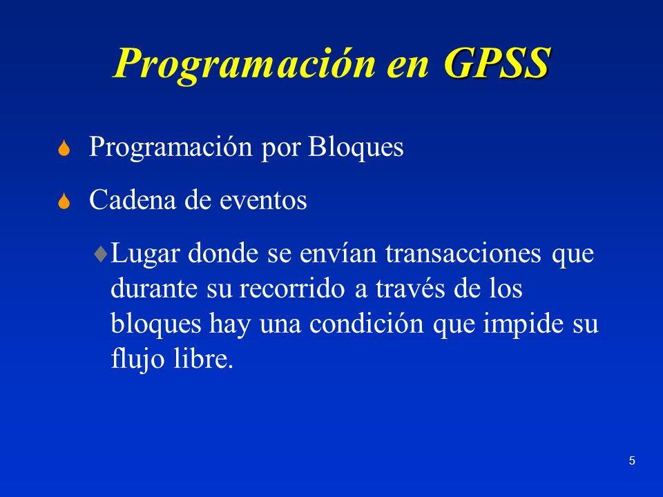 6 GPSS Programación en GPSS Cadena de eventos, continuación a)Bloqueo de Retraso Transacción entra en t1 saldrá en t2.