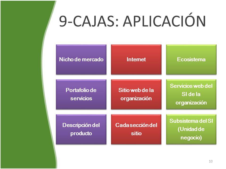 9-CAJAS: APLICACIÓN Nicho de mercadoInternetEcosistema Portafolio de servicios Sitio web de la organización Servicios web del SI de la organización De