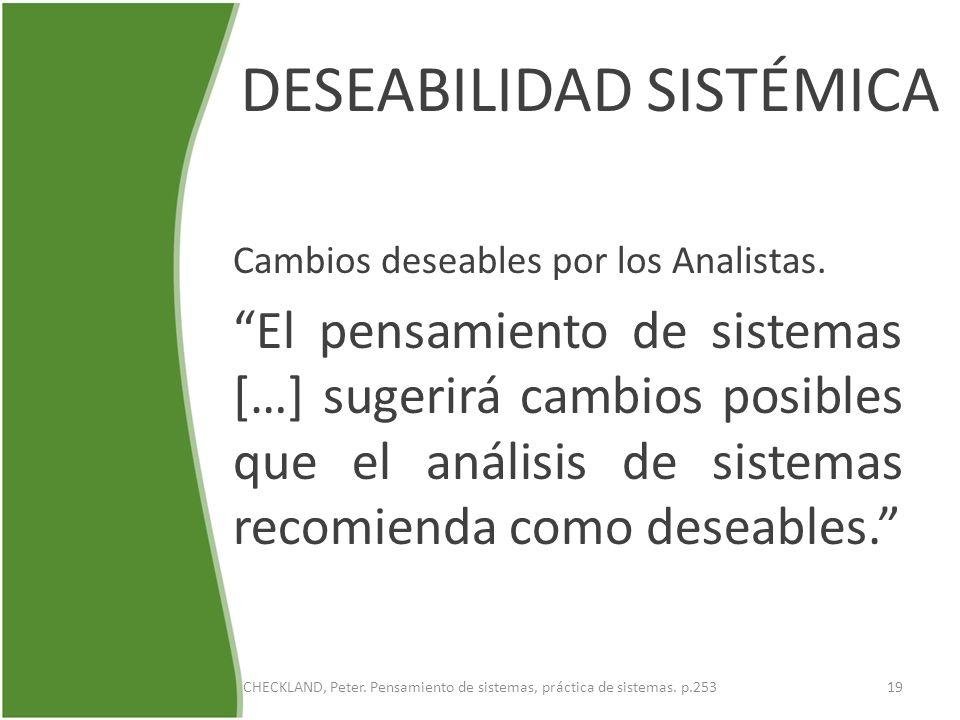 DESEABILIDAD SISTÉMICA Cambios deseables por los Analistas. El pensamiento de sistemas […] sugerirá cambios posibles que el análisis de sistemas recom