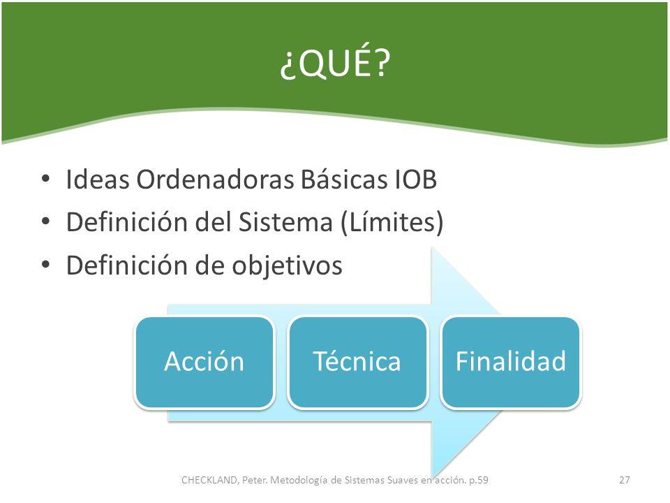¿QUÉ? Ideas Ordenadoras Básicas IOB Definición del Sistema (Límites) Definición de objetivos AcciónTécnicaFinalidad 27CHECKLAND, Peter. Metodología de
