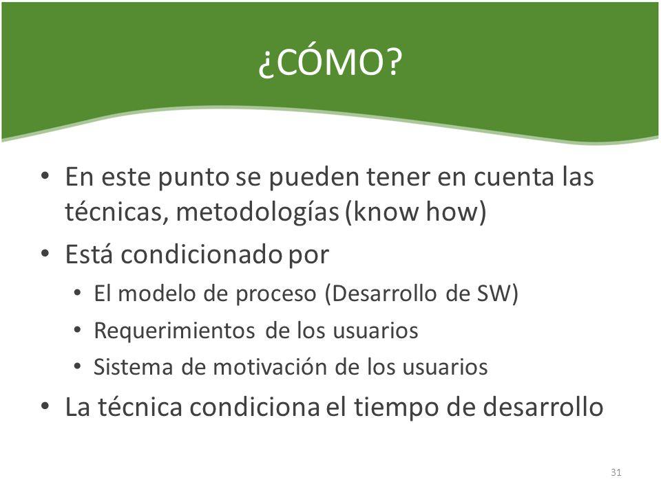¿CÓMO? En este punto se pueden tener en cuenta las técnicas, metodologías (know how) Está condicionado por El modelo de proceso (Desarrollo de SW) Req