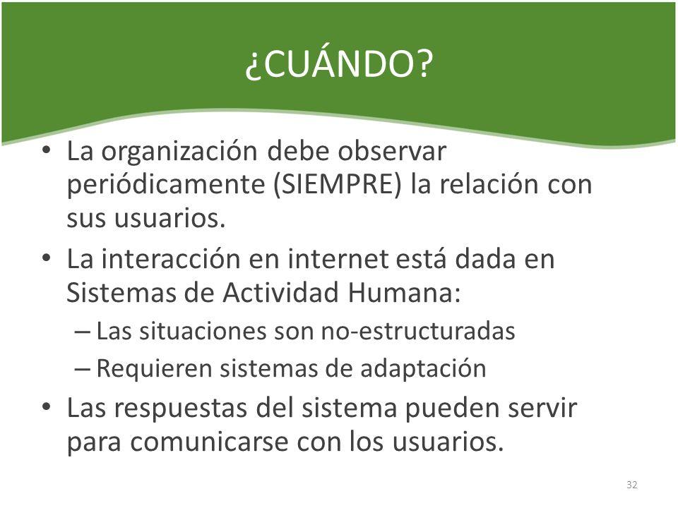 ¿CUÁNDO? La organización debe observar periódicamente (SIEMPRE) la relación con sus usuarios. La interacción en internet está dada en Sistemas de Acti