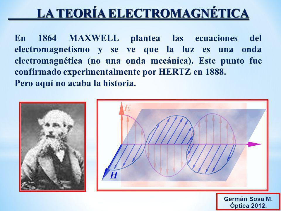 LA TEORÍA ELECTROMAGNÉTICA En 1864 MAXWELL plantea las ecuaciones del electromagnetismo y se ve que la luz es una onda electromagnética (no una onda m