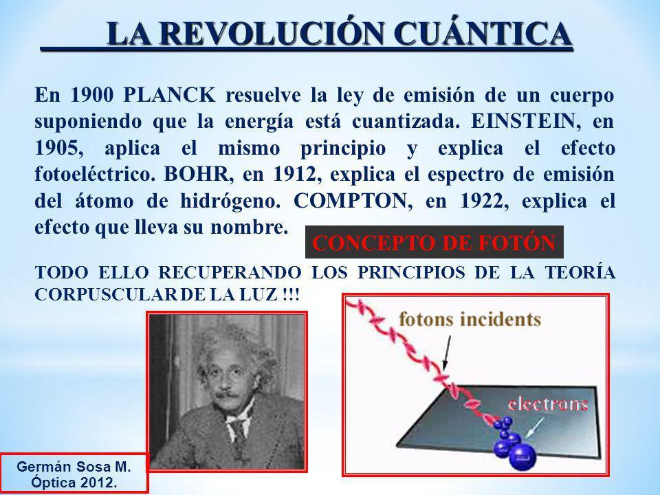LA REVOLUCIÓN CUÁNTICA En 1900 PLANCK resuelve la ley de emisión de un cuerpo suponiendo que la energía está cuantizada. EINSTEIN, en 1905, aplica el