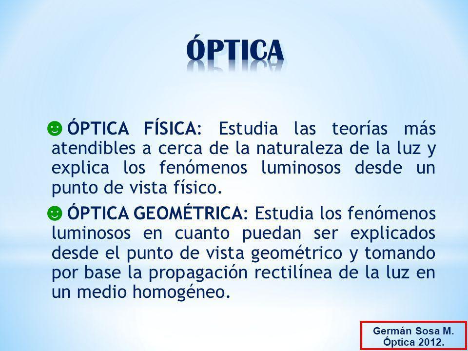 ÓPTICA FÍSICA: Estudia las teorías más atendibles a cerca de la naturaleza de la luz y explica los fenómenos luminosos desde un punto de vista físico.
