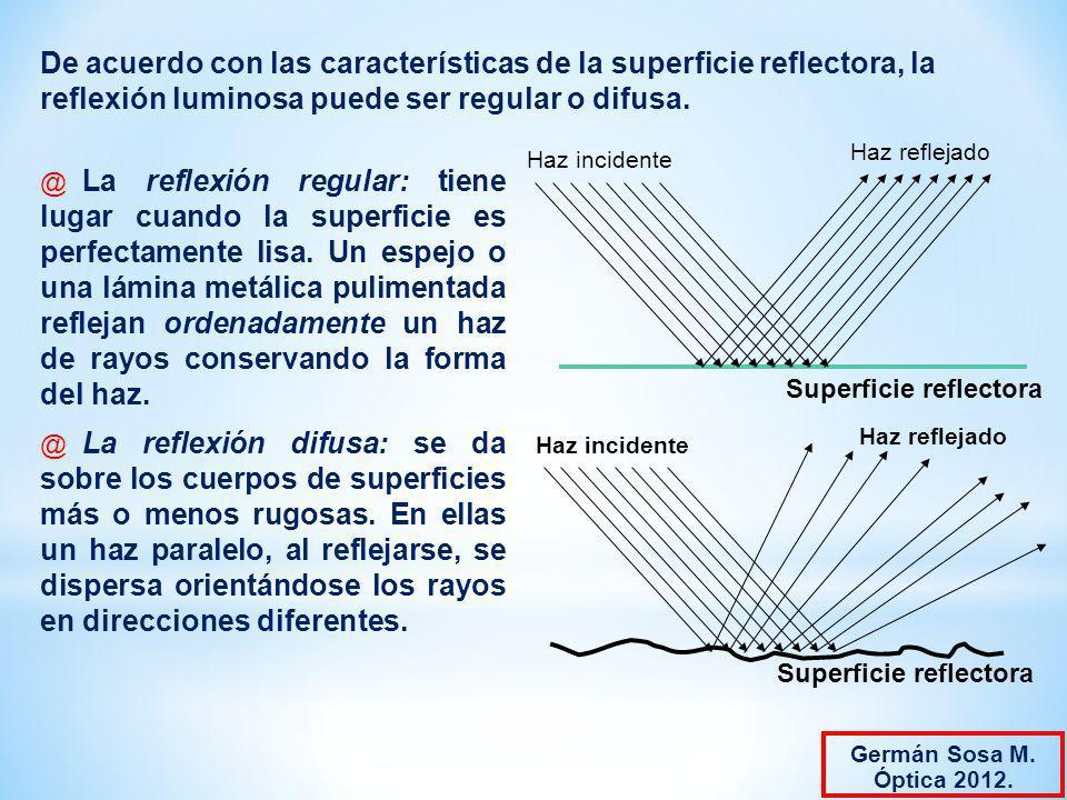 De acuerdo con las características de la superficie reflectora, la reflexión luminosa puede ser regular o difusa. @ La reflexión regular: tiene lugar