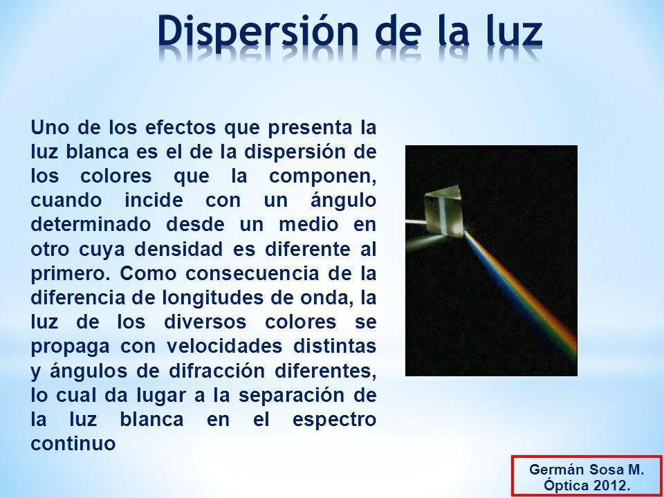 Uno de los efectos que presenta la luz blanca es el de la dispersión de los colores que la componen, cuando incide con un ángulo determinado desde un