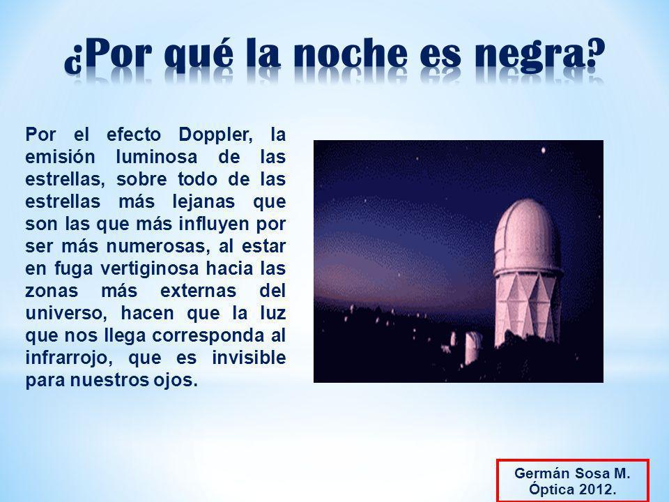 Por el efecto Doppler, la emisión luminosa de las estrellas, sobre todo de las estrellas más lejanas que son las que más influyen por ser más numerosa