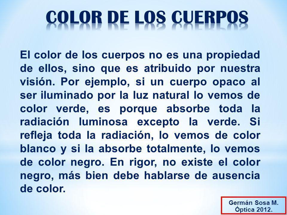 El color de los cuerpos no es una propiedad de ellos, sino que es atribuido por nuestra visión. Por ejemplo, si un cuerpo opaco al ser iluminado por l