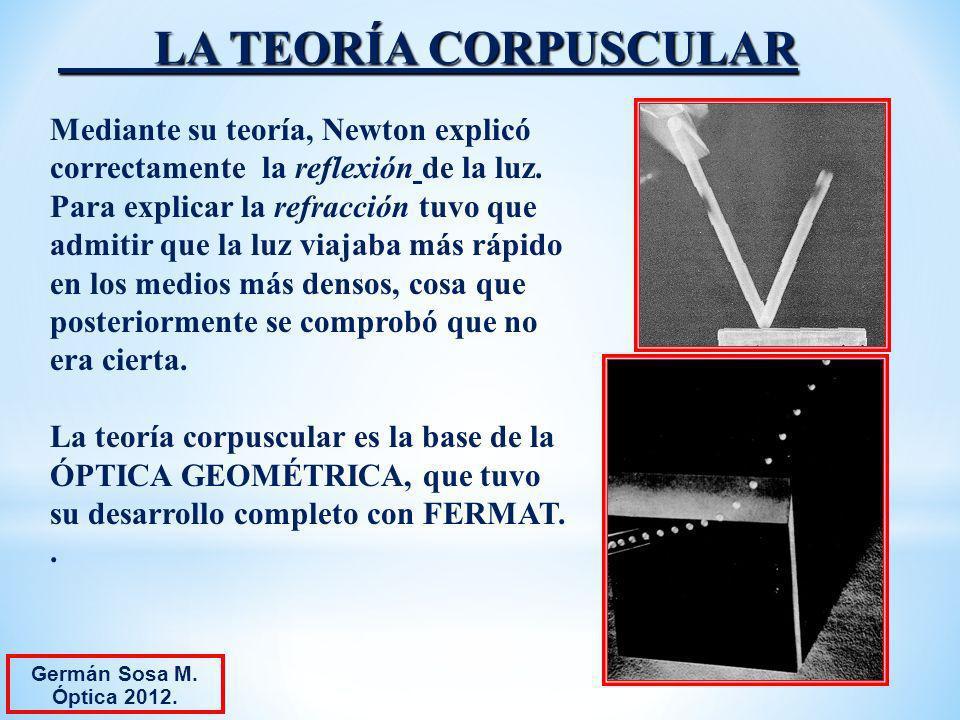 LA TEORÍA CORPUSCULAR Mediante su teoría, Newton explicó correctamente la reflexión de la luz. Para explicar la refracción tuvo que admitir que la luz