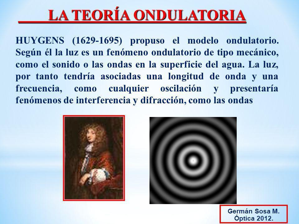 LA TEORÍA ONDULATORIA HUYGENS (1629-1695) propuso el modelo ondulatorio. Según él la luz es un fenómeno ondulatorio de tipo mecánico, como el sonido o