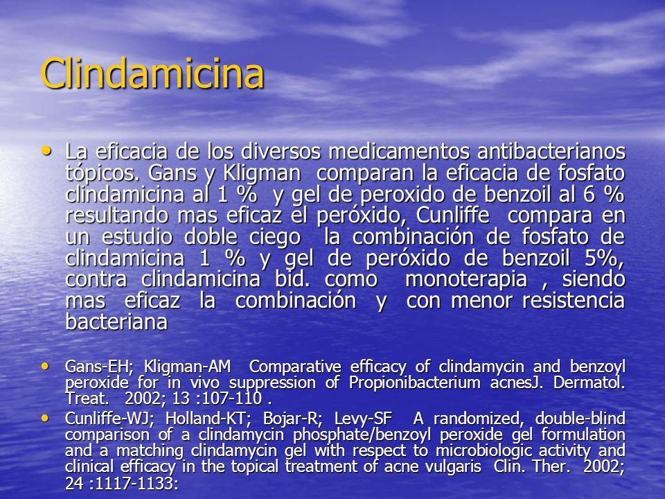 Clindamicina La eficacia de los diversos medicamentos antibacterianos tópicos. Gans y Kligman comparan la eficacia de fosfato clindamicina al 1 % y ge
