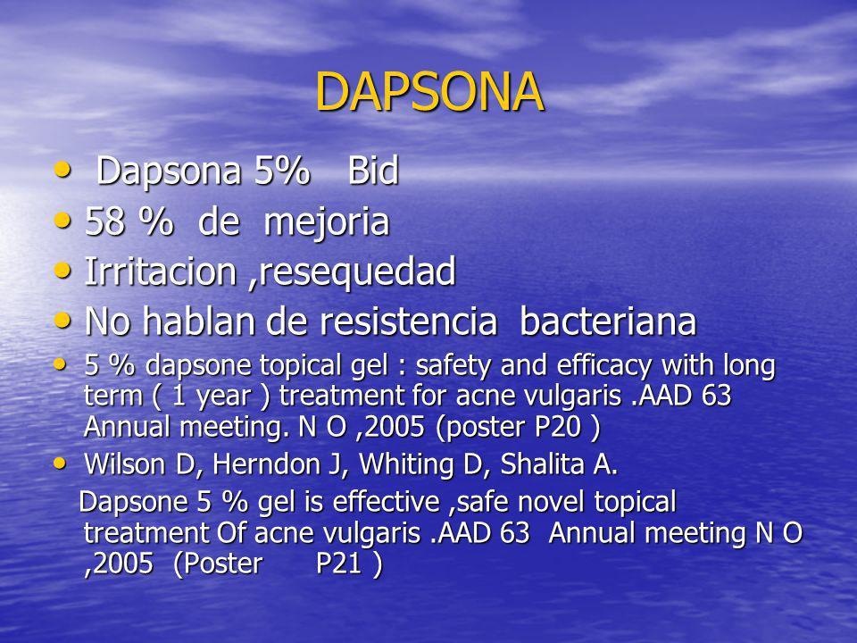 DAPSONA DAPSONA Dapsona 5% Bid Dapsona 5% Bid 58 % de mejoria 58 % de mejoria Irritacion,resequedad Irritacion,resequedad No hablan de resistencia bac