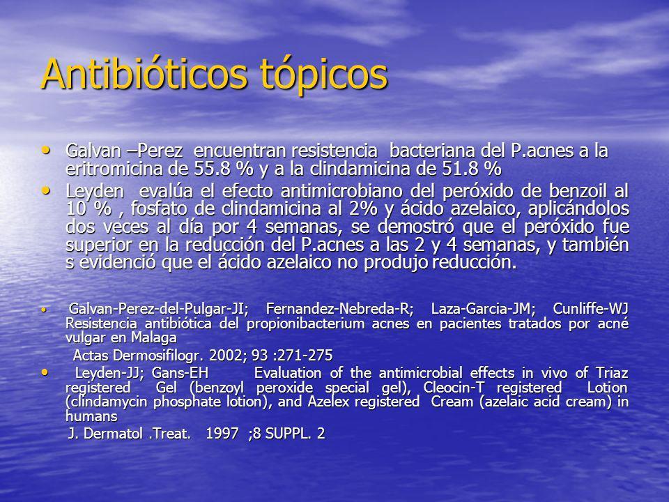 Antibióticos tópicos Galvan –Perez encuentran resistencia bacteriana del P.acnes a la eritromicina de 55.8 % y a la clindamicina de 51.8 % Galvan –Per