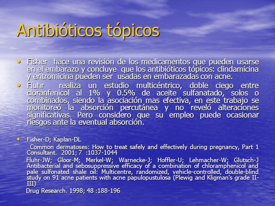 Antibióticos tópicos Fisher hace una revisión de los medicamentos que pueden usarse en el embarazo y concluye que los antibióticos tópicos: clindamici