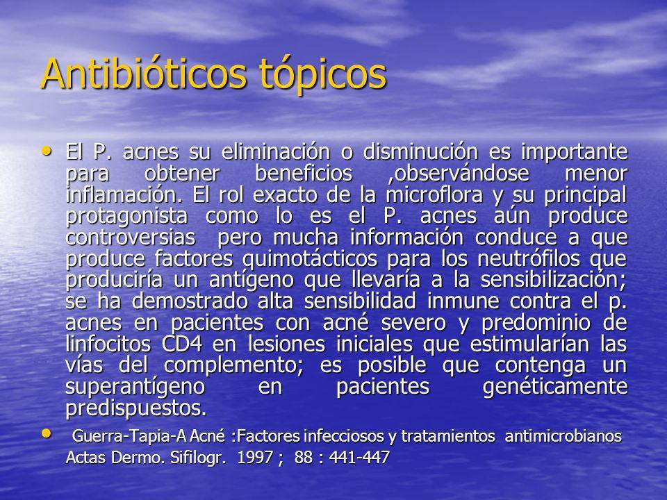 Antibióticos tópicos El P. acnes su eliminación o disminución es importante para obtener beneficios,observándose menor inflamación. El rol exacto de l