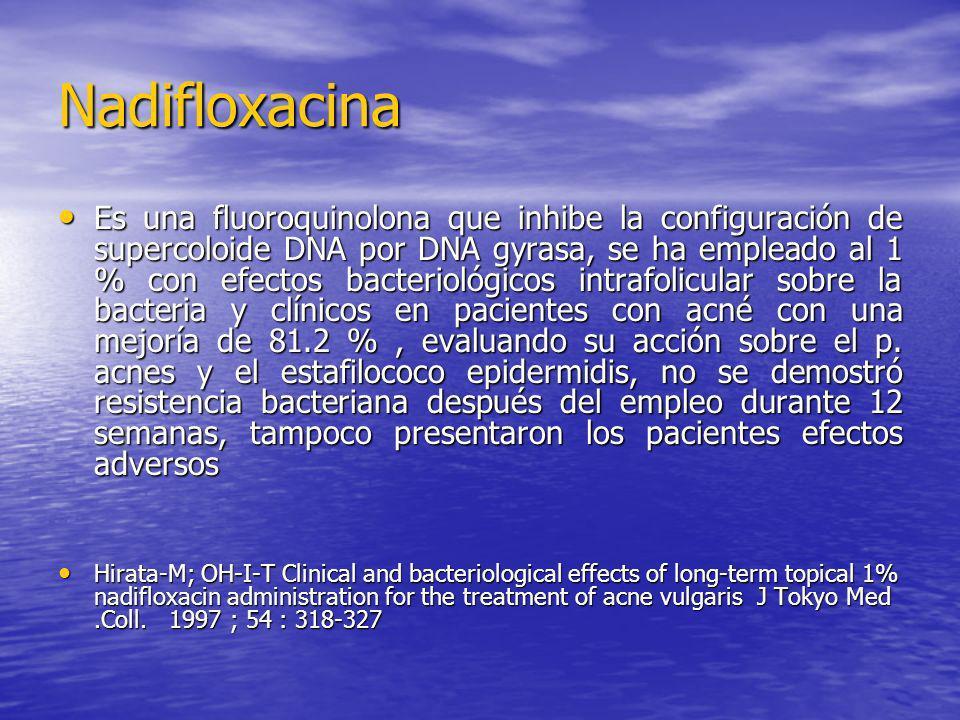 Nadifloxacina Es una fluoroquinolona que inhibe la configuración de supercoloide DNA por DNA gyrasa, se ha empleado al 1 % con efectos bacteriológicos