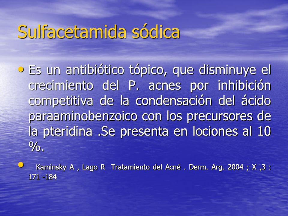 Sulfacetamida sódica Es un antibiótico tópico, que disminuye el crecimiento del P. acnes por inhibición competitiva de la condensación del ácido paraa