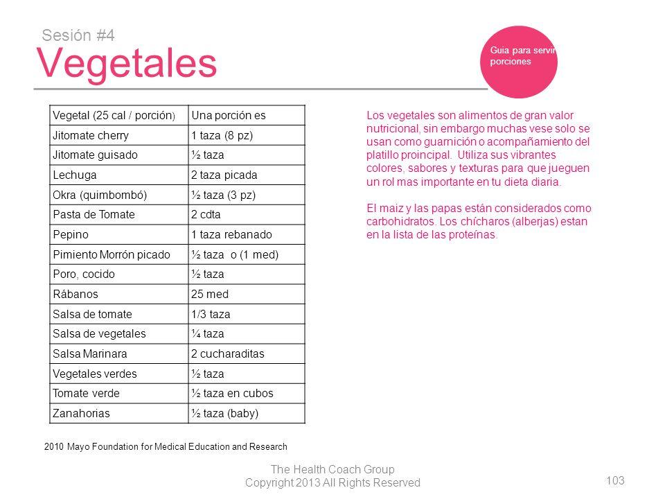 103 The Health Coach Group Copyright 2013 All Rights Reserved Vegetales Sesión #4 Vegetal (25 cal / porción ) Una porción es Jitomate cherry1 taza (8