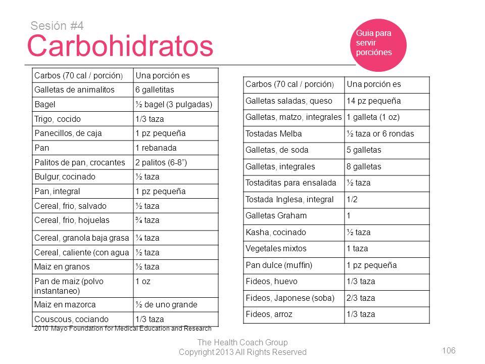 106 The Health Coach Group Copyright 2013 All Rights Reserved Carbohidratos Sesión #4 Guia para servir porciónes Carbos (70 cal / porción ) Una porció