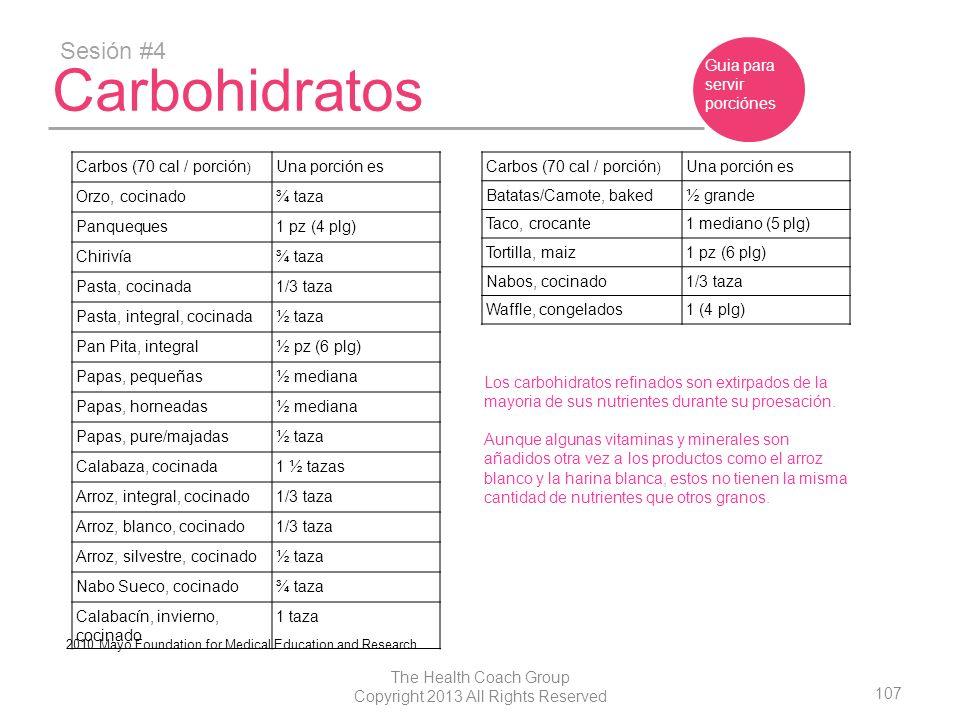 107 The Health Coach Group Copyright 2013 All Rights Reserved Carbohidratos Sesión #4 Guia para servir porciónes Carbos (70 cal / porción ) Una porció