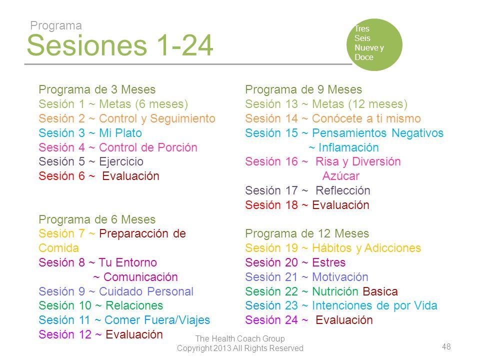 48 The Health Coach Group Copyright 2013 All Rights Reserved Sesiones 1-24 Programa Tres Seis Nueve y Doce Programa de 3 Meses Sesión 1 ~ Metas (6 mes