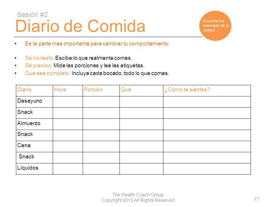 77 The Health Coach Group Copyright 2013 All Rights Reserved Diario de Comida Es la parte mas importante para cambiar tu comportamiento. Sé honesto. E