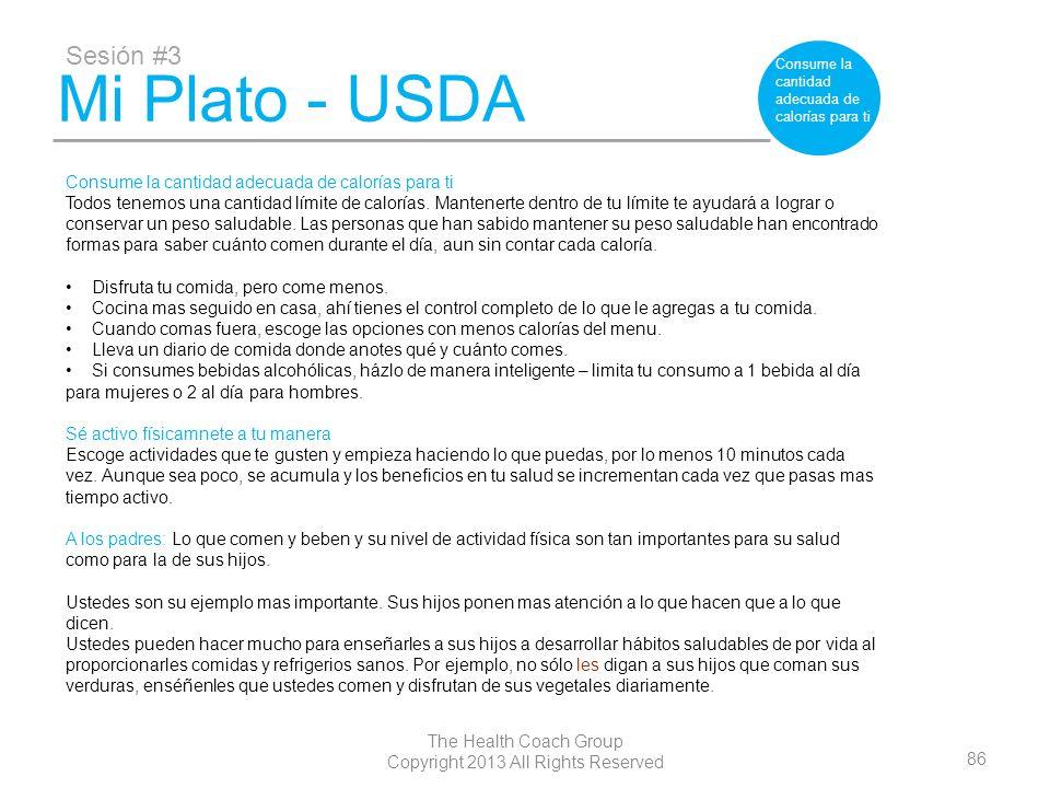 86 The Health Coach Group Copyright 2013 All Rights Reserved Mi Plato - USDA Sesión #3 Consume la cantidad adecuada de calorías para ti Todos tenemos