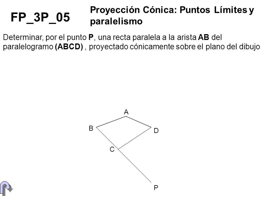 Determinar, por el punto P, una recta paralela a la arista AB del paralelogramo (ABCD), proyectado cónicamente sobre el plano del dibujo FP_3P_05 Proy
