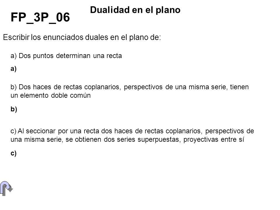Escribir los enunciados duales en el plano de: FP_3P_06 Dualidad en el plano b) Dos haces de rectas coplanarios, perspectivos de una misma serie, tien