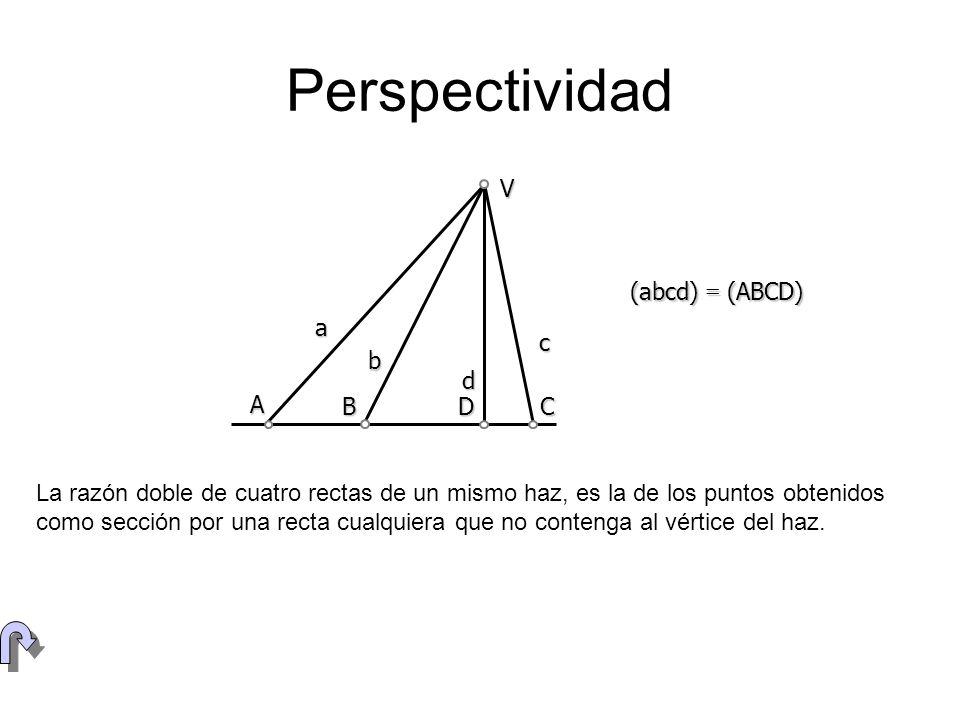 Perspectividad a b c (abcd) = (ABCD) V d A B D C La razón doble de cuatro rectas de un mismo haz, es la de los puntos obtenidos como sección por una r