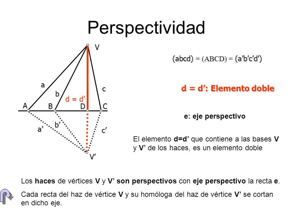 Perspectividad (abcd) = (ABCD) = (abcd) Va b c d = d V a b c A B D C e: eje perspectivo Los haces de vértices V y V son perspectivos con eje perspecti