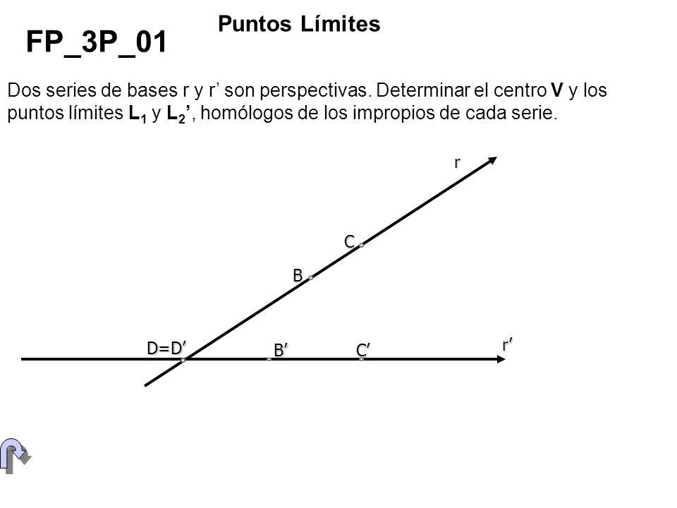 Dos series de bases r y r son perspectivas. Determinar el centro V y los puntos límites L 1 y L 2, homólogos de los impropios de cada serie. FP_3P_01