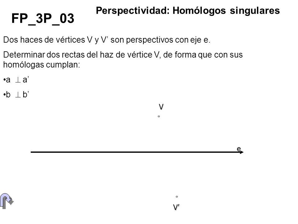 Dos haces de vértices V y V son perspectivos con eje e. Determinar dos rectas del haz de vértice V, de forma que con sus homólogas cumplan: a b FP_3P_