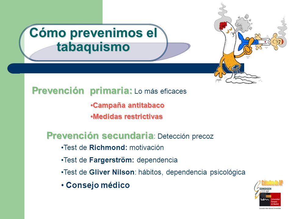 Cómo prevenimos el tabaquismo Prevención primaria: Prevención primaria: Lo más eficaces Campaña antitabacoCampaña antitabaco Medidas restrictivasMedid
