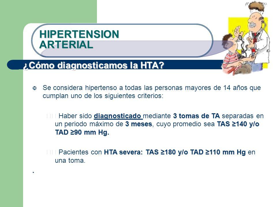 ¿Cómo diagnosticamos la HTA? Se considera hipertenso a todas las personas mayores de 14 años que cumplan uno de los siguientes criterios: diagnosticad