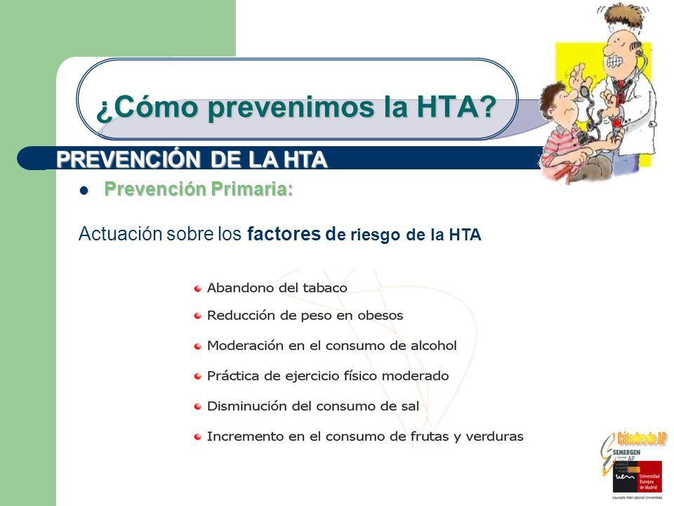 ¿Cómo prevenimos la HTA? PREVENCIÓN DE LA HTA Prevención Primaria: Prevención Primaria: Actuación sobre los factores d e riesgo de la HTA