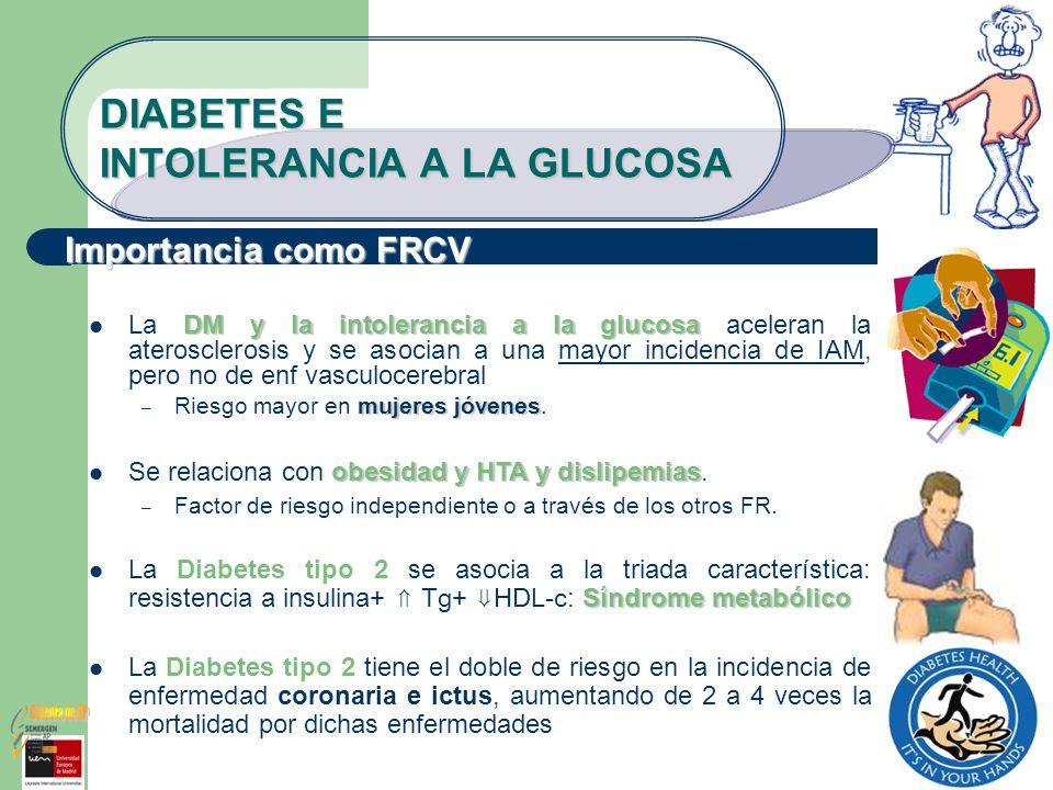 DIABETES E INTOLERANCIA A LA GLUCOSA DM y la intolerancia a la glucosa La DM y la intolerancia a la glucosa aceleran la aterosclerosis y se asocian a