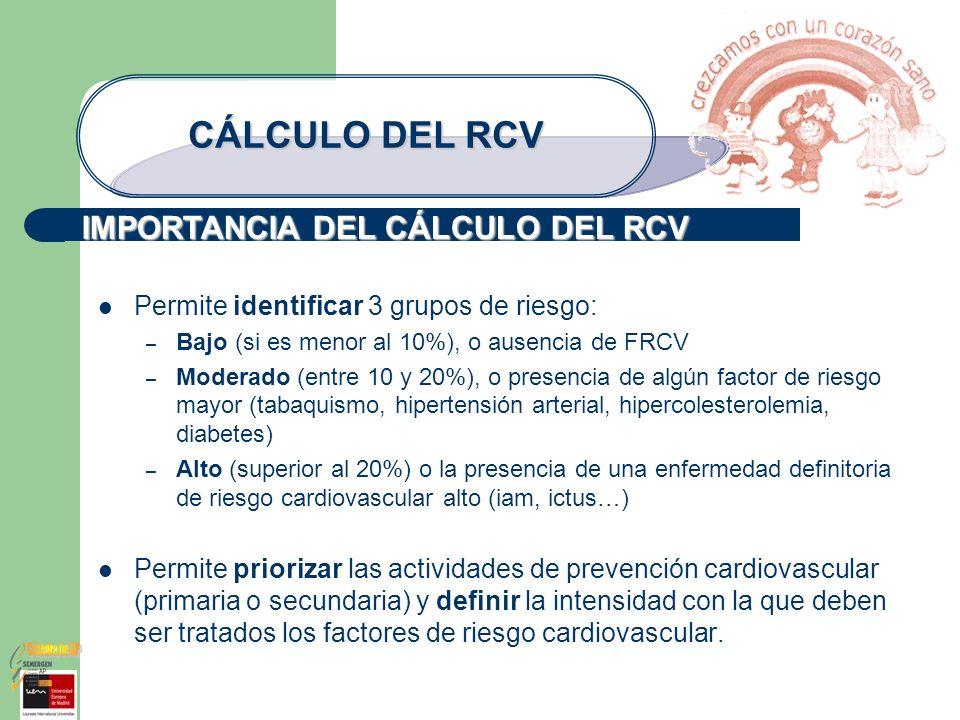 IMPORTANCIA DEL CÁLCULO DEL RCV CÁLCULO DEL RCV Permite identificar 3 grupos de riesgo: – Bajo (si es menor al 10%), o ausencia de FRCV – Moderado (en