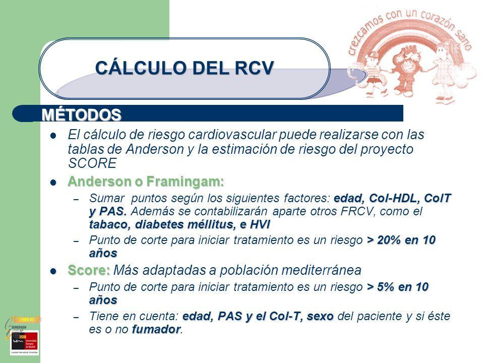 MÉTODOS CÁLCULO DEL RCV El cálculo de riesgo cardiovascular puede realizarse con las tablas de Anderson y la estimación de riesgo del proyecto SCORE A