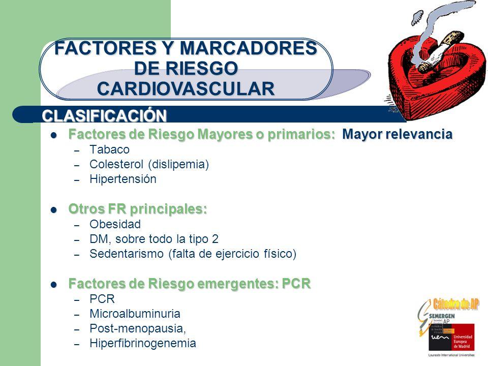 CLASIFICACIÓN FACTORES Y MARCADORES DE RIESGO CARDIOVASCULAR Factores de Riesgo Mayores o primarios: Mayor relevancia Factores de Riesgo Mayores o pri