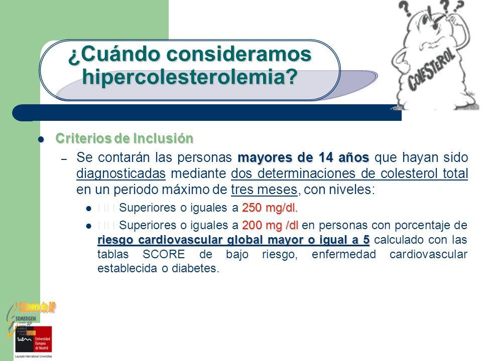¿Cuándo consideramos hipercolesterolemia? Criterios de Inclusión Criterios de Inclusión mayores de 14 años – Se contarán las personas mayores de 14 añ