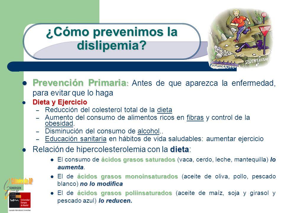 ¿Cómo prevenimos la dislipemia? Prevención Primaria : Prevención Primaria : Antes de que aparezca la enfermedad, para evitar que lo haga Dieta y Ejerc