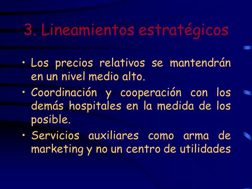 3. Lineamientos estratégicos Los precios relativos se mantendrán en un nivel medio alto. Coordinación y cooperación con los demás hospitales en la med