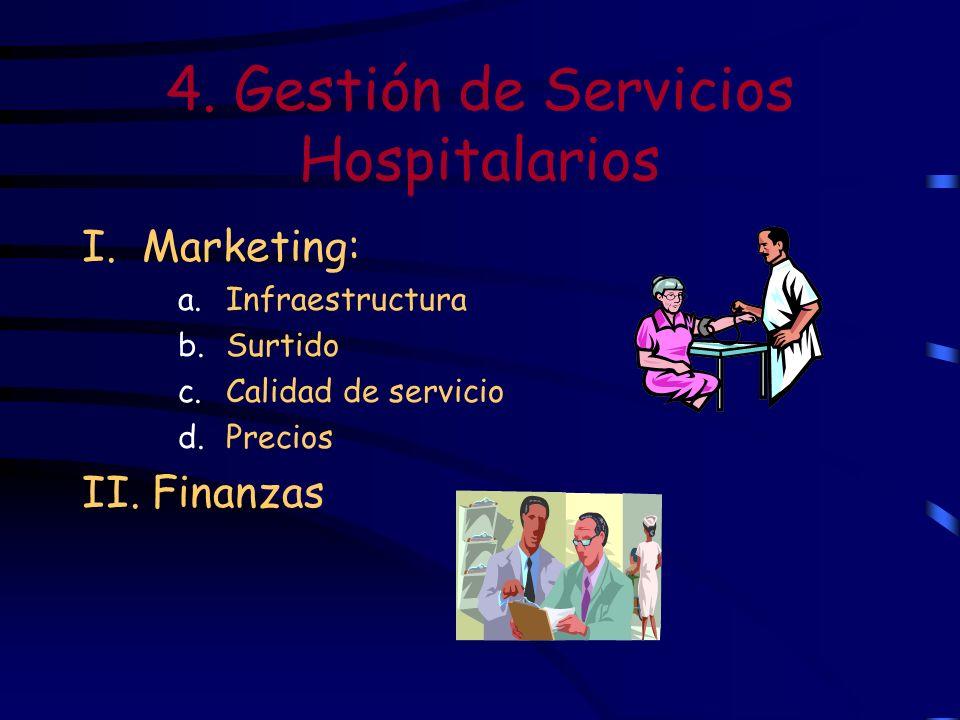 4. Gestión de Servicios Hospitalarios I. Marketing: a.Infraestructura b.Surtido c.Calidad de servicio d.Precios II. Finanzas