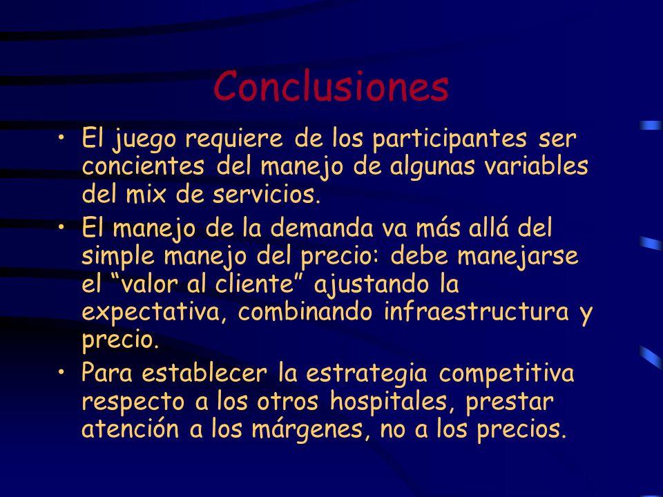 Conclusiones El juego requiere de los participantes ser concientes del manejo de algunas variables del mix de servicios. El manejo de la demanda va má