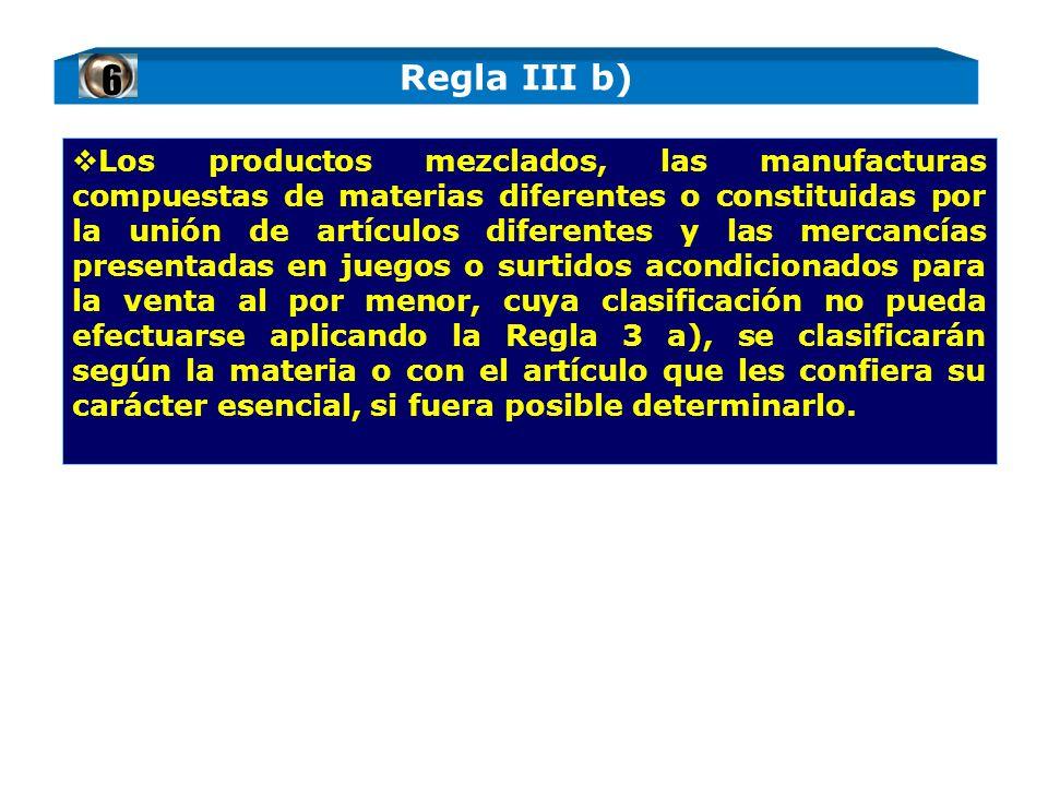 Los productos mezclados, las manufacturas compuestas de materias diferentes o constituidas por la unión de artículos diferentes y las mercancías prese