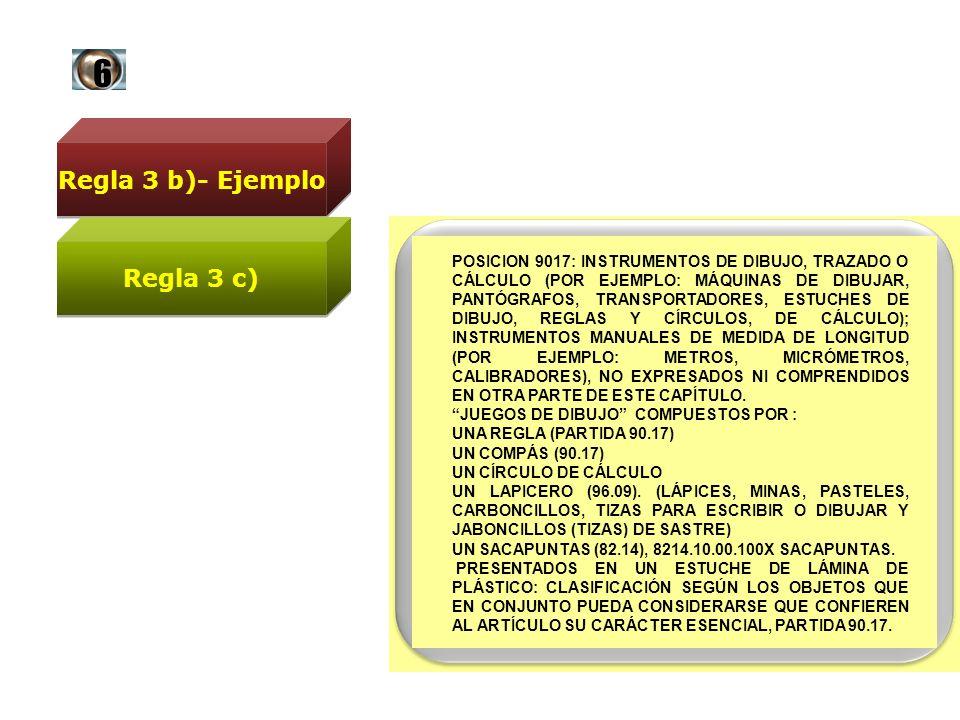 Regla 3 b)- Ejemplo POSICION 9017: INSTRUMENTOS DE DIBUJO, TRAZADO O CÁLCULO (POR EJEMPLO: MÁQUINAS DE DIBUJAR, PANTÓGRAFOS, TRANSPORTADORES, ESTUCHES