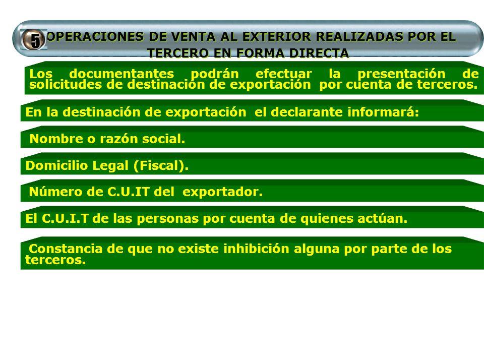 OPERACIONES DE VENTA AL EXTERIOR REALIZADAS POR EL TERCERO EN FORMA DIRECTA Los documentantes podrán efectuar la presentación de solicitudes de destin